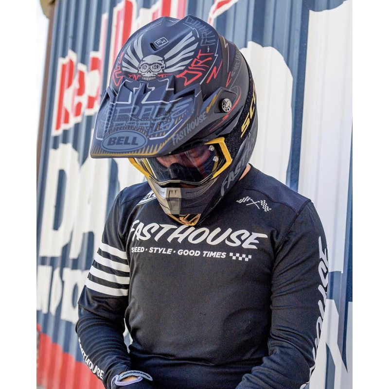 BELL Helm Moto-9-Flex-Fasthouse-DITD-21Mat Black Grey Red